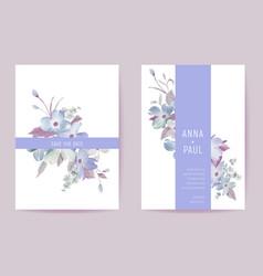 Wedding invitation spring pastel flowers floral vector