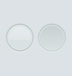 White round buttons normal and pushed 3d web vector