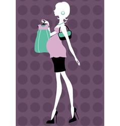 Beautiful pregnant woman shopping vector image