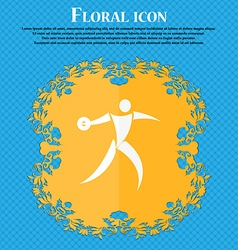 Discus thrower icon Floral flat design on a blue vector image