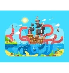Kraken ship sinks design flat vector image vector image