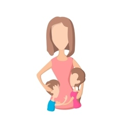 Mother and her kids cartoon icon vector image
