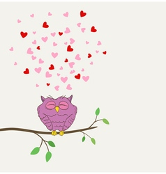 owl in love dreaming vector image vector image