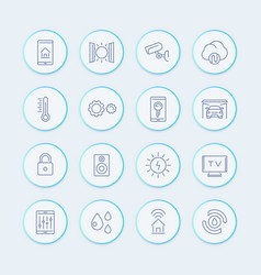 smart house technology system line icons home vector image vector image