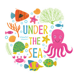under the sea card with marine animals vector image vector image