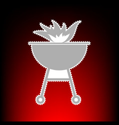 barbecue with fire vector image vector image