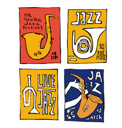 jazz music festival poster set vector image