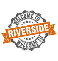riverside round ribbon seal vector image