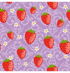 Seamless strawberries background vector image