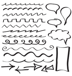 Set of hand drawn border lines vector image