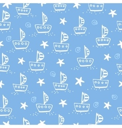 Ship on a blue background vector