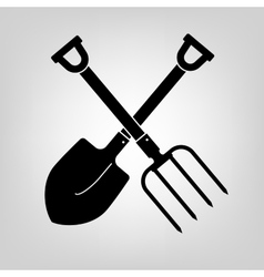 shovel and pitchfork icon vector image vector image