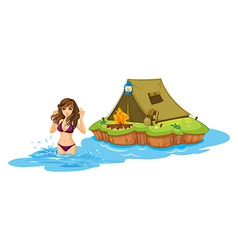 A sexy girl swimming near the island with a vector image vector image