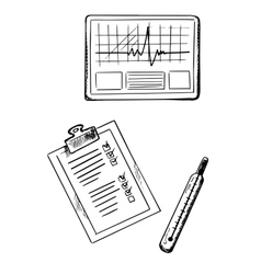 Cardiogram medical history thermometer sketches vector image vector image