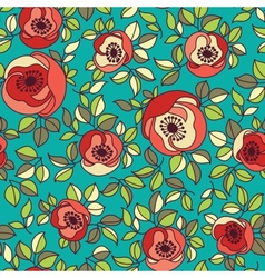 seamless vintage rose pattern on green background vector image vector image
