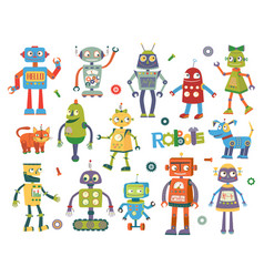 set of cartoon robots vector image