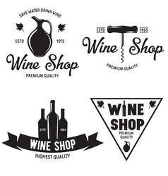 wine shop vintage emblems labels badges and logos vector image