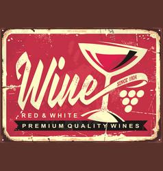 wine vintage tin sign vector image