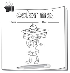 A worksheet showing a girl carrying a cake vector image vector image