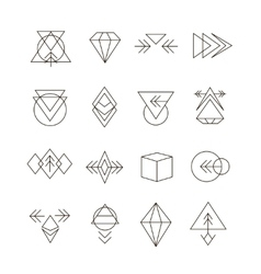 Abstract Geometric Set with Hipster Style Icons vector image vector image