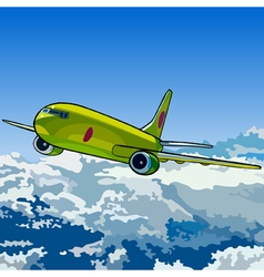 green aircraft flying in the sky above the clouds vector image vector image