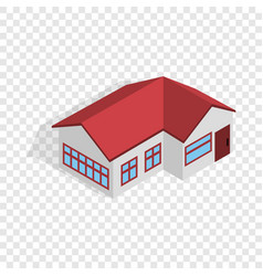 house with red roof isometric icon vector image vector image
