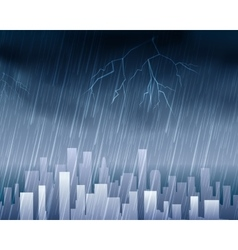 Rainy weather in town blue background vector image vector image