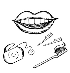 Smile toothbrush and floss sketches vector image vector image