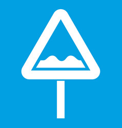 uneven triangular road sign icon white vector image vector image