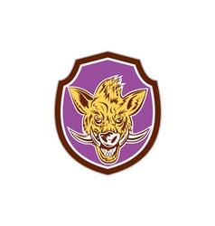 Wild Boar Razorback Head Shield Retro vector image vector image