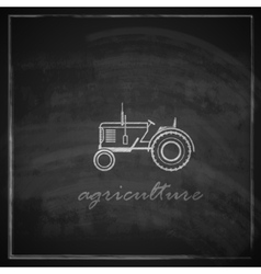 with tractor icon on blackboard background farm vector image vector image