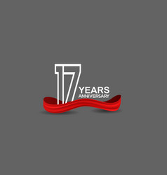 17 years anniversary line style white color vector