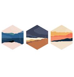 Abstract landscape with japanese pattern nature vector
