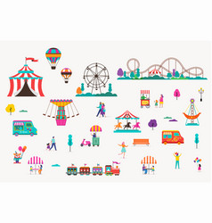 amusement park with carousels air balloons and vector image