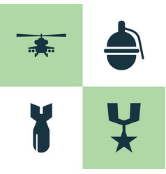 army icons set collection of bombshell chopper vector image