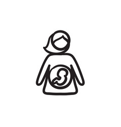 baby fetus in mother womb sketch icon vector image