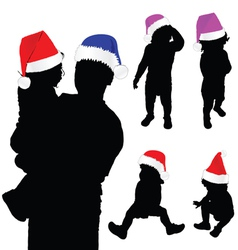 Baby silhouette with christmas hat vector