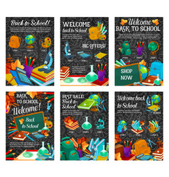 back to school sale banner discount flyer design vector image