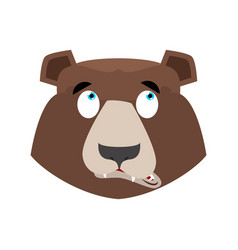 bear surprised emoji grizzly astonished emotion vector image