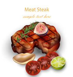 beef steak and vegetables realistic 3d vector image