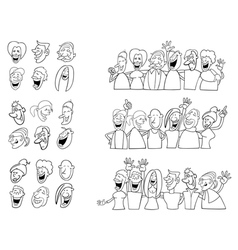 Black and white set of funny people vector