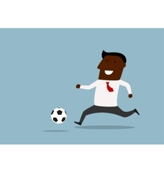 Black businessman dribbling with ball vector
