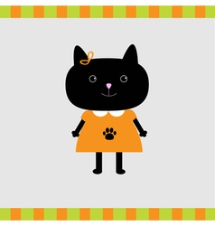 Black cat girl card Card vector image