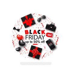 black friday sale background with bowtie vector image