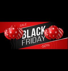 black friday sale horizontal banner with dark vector image