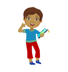 boy holding tablet and showing thumbs up part of vector image