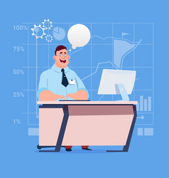 business man sitting desk working computer with vector image
