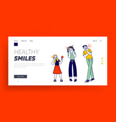 Characters suffering toothache landing page vector
