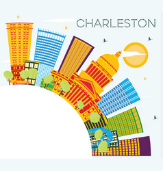 charleston city skyline with color buildings blue vector image