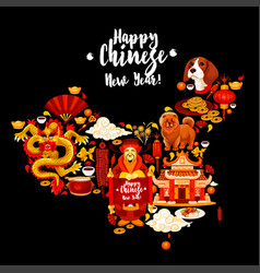 china map with chinese new year holiday symbols vector image